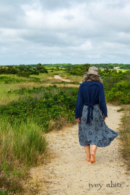 Eugenia Jacket in Seascape Melange Knit; Tilbrook Frock in Seascape Floral Linen; Porte Cochere Sash in Seascape Floral Linen. Ivey Abitz Bespoke Clothing.