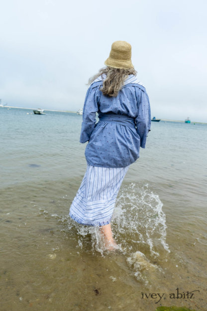 Pierrepont Shirt in Estuary Hope and Sail Embroidered Cotton; Viv Frock in National Seashore Variegated Stripe; Cilla Slip Frock in Sailcloth Soft Ribbed Knit. Ivey Abitz Bespoke Clothing.