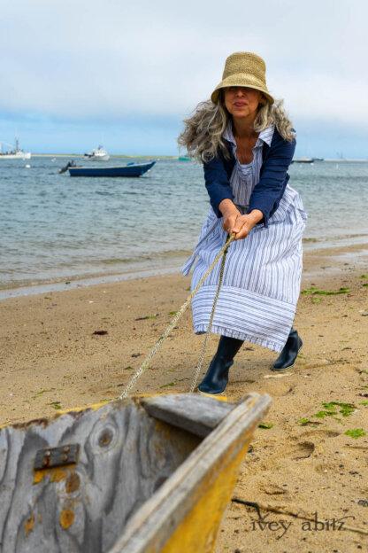 Eugenia Jacket in Seascape Melange Knit; Viv Frock in National Seashore Variegated Stripe; Cilla Slip Frock in Sailcloth Soft Ribbed Knit. Ivey Abitz Bespoke Clothing.
