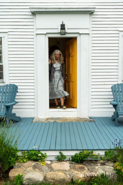 Elliot Jacket in Cape Grey Puckered Weave; Hudson Frock in Sea and Summer Land Plaid Linen; Porte Cochere Sash in Sea and Summer Land Plaid Linen. Ivey Abitz Bespoke Clothing.