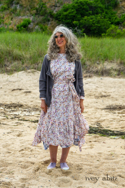 Elliot Jacket in Cape Grey Puckered Weave; Fairholme Dress in Ethereal Floral Cotton Voile; Fairholme Sash in Ethereal Floral Cotton Voile; Fairholme Frock in Plum Tree Wispy Plaid Cotton. Ivey Abitz Bespoke Clothing.