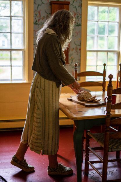 Ans Jacket in Woodlawn Melange Knit; Vanetten Frock in Seagrass Washed Stripe Linen. Ivey Abitz Bespoke Clothing.