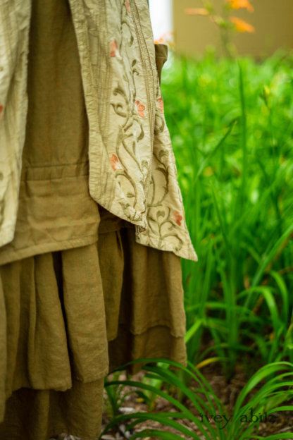 Ans Jacket in Woodlawn Melange Knit; Faudray Overlay in Sand Embroidered Pin Tuck Washed Silk; Everett Frock in Summer Land and Seagrass Washed Linen. Ivey Abitz Bespoke Clothing.