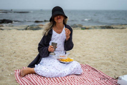 Viv Coat Dress in National Seashore Pinstripe Voile; Gabled Frock in Sailcloth Hope and Sail Embroidered Cotton; Cilla Slip Frock in Sailcloth Soft Ribbed Knit. Ivey Abitz Bespoke Clothing.