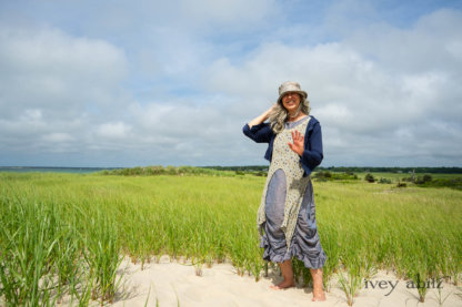 Eugenia Jacket in Seascape Melange Knit; Lumiere Frock in Cape Floral Silk Chiffon; Clemmie Frock in Cape Sunrise Washed Linen. Ivey Abitz Bespoke Clothing.