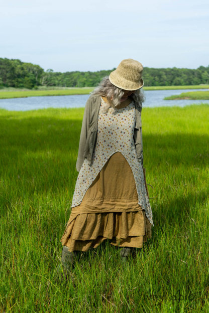 Ans Jacket in Woodlawn Melange Knit; Lumiere Frock in Cape Floral Silk Chiffon; Everett Frock in Summer Land and Seagrass Washed Linen. Ivey Abitz Bespoke Clothing.