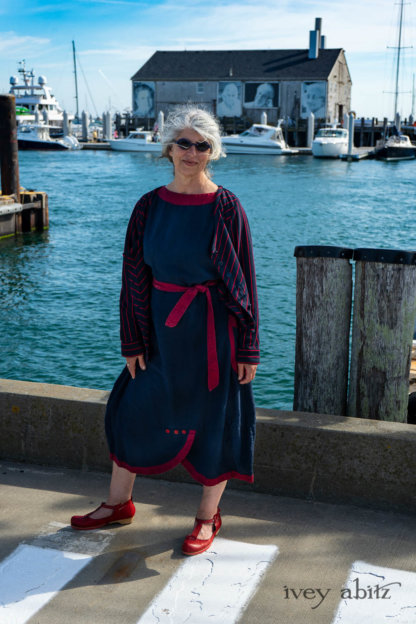Limited Edition Gilbert Cardigan in National Seashore and Red Stripe Knit; Sennen Frock in National Seashore Washed Linen with Cape Rose Washed Linen details. Ivey Abitz Bespoke Clothing.