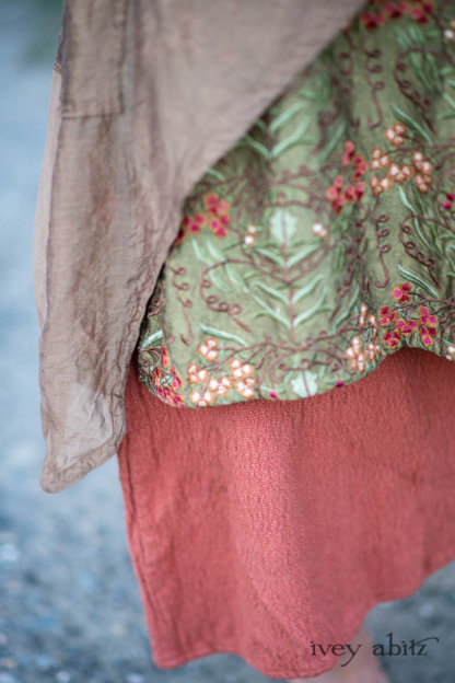 Lumiere Jacket in Coral Washed Voile; River Frock in Woodlawn Vine Embroidered Washed Silk; Ans Frock in Coral Silk Cotton Old World Weave. Ivey Abitz Bespoke Clothing.