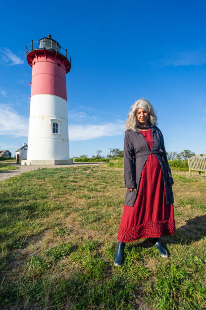 Viv Coat Dress in National Seashore Pinstripe Voile; Pierrepont Sash in National Seashore Pinstripe Voile; Cape Frock in Cape Rose Washed Linen. Ivey Abitz Bespoke Clothing.