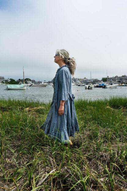 Tilbrook Duster Coat in Seascape Woven Linen; Tilbrook Frock in Seascape Floral Linen; Porte Cochere Sash in Estuary Herringbone Twill. Ivey Abitz Bespoke Clothing.