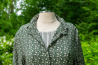 • Truitt Shirt Jacket in Summer Harvest Washed Silk • Fairholme Frock in Gardenia Variegated Stripe Weave• Thatched Frock in Kale Crinkled Double Gauze. Bespoke clothing designed by Cynthia Ivey Abitz.