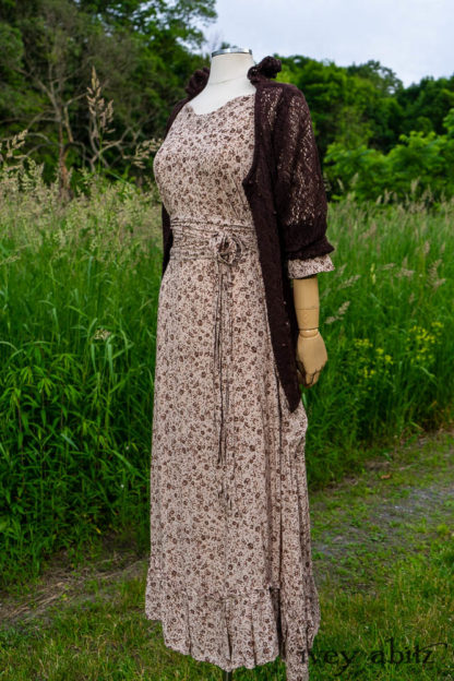 •Montmorency Cardigan in Earth Lace Knit •Porte Cochere Sash in Earth Floral Weave• Inglenook Dress in Earth Floral Weave• Limited Edition Cilla Slip Frock in Peach Embroidered Silk Voile. Bespoke clothing designed by Cynthia Ivey Abitz.