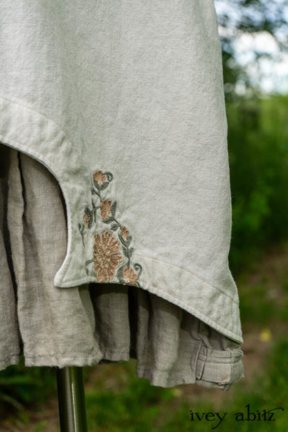 • Chittister Shirt Jacket in Sun and Sand Washed Stripe • Chittister Frock in Floral Embroidered Washed Cotton • Windrush Frock in Leafy Washed Handkerchief Linen. Bespoke clothing designed by Cynthia Ivey Abitz.