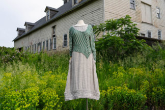 Limited Edition Gilbert Cardigan in Kale Striped Linen Knit-XS-S