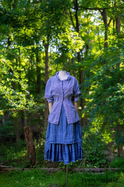 Glenclyffe Shirt in Blue Skies Petite Check • Ardsleydale Frock in Blue Skies Raised and Washed Stripe. Bespoke clothing designed by Cynthia Ivey Abitz
