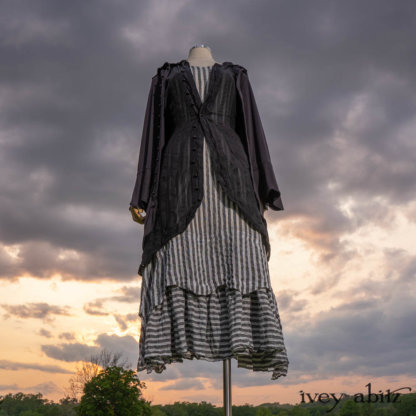 •Heraldry Duster Coat in Black Ethereal Stripe Knit • Heraldry Vest in Black Corded Silk Voile •Heraldry Frock in Black and White Gauzy Stripe•Cilla Slip Frock in Black Silk Knit. Bespoke clothing designed by Cynthia Ivey Abitz.