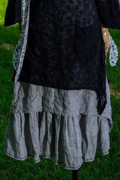 Dennison Dress in Black Embroidered Washed Voile; Limited Edition Blanchefleur Frock in Black and White Petite Stripe Linen; Blanchefleur Sash in Black and White Seashell Voile. Ivey Abitz at Boscobel House and Gardens
