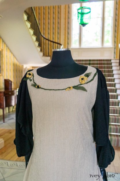 Limited Edition Idyll Frock in Banister Pinstripe Stretch Weave and Mix of Yellow Days Silks and Linens; Addy Jacket in Signature Black Lightweight Linen Knit. Ivey Abitz at Boscobel House and Gardens
