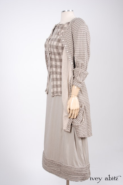 Look 11 - Spring 2018 Ivey Abitz Bespoke - Glenclyffe Jacket in Stone Cottage Petite Checked Knit; Bonheur Vest in Stone Cottage Grand Checked Knit; Tilling Frock in Stone Cottage Stretchy Houndstooth, High Water Length.