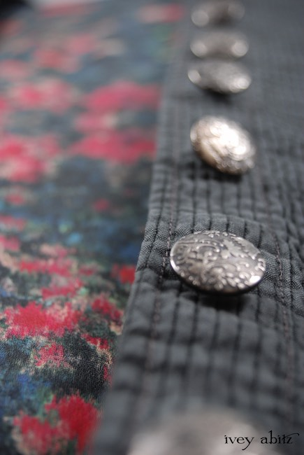 Look 12 - Spring 2018 Ivey Abitz Bespoke - Porte Cochere Shirt Jacket in Blue Slate Wainscot Weave; Wrennie Frock in Gable Green Floral Silk Chiffon; Inglenook Frock in Blue Slate Washed Linen, Low Water Length.