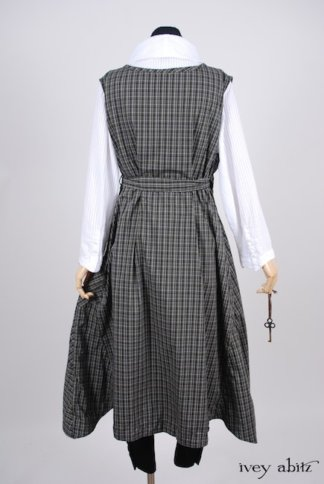 Look 14 - Spring 2018 Ivey Abitz Bespoke - Chomley Frock in Gable Green Plaid Cotton; Camille Shirt in Clapboard White Wainscot Weave; Sophia Necktie in Chimney Embroidered Striped Organza; Pierrepont Breeches-Leggings in Chimney Ponte Knit.