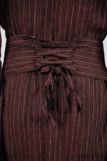 Look 16 - Spring 2018 Ivey Abitz Bespoke - Porte Cochere Duster Coat in Brick Striped Linen; Inglenook Frock in Blue Slate Washed Linen, Low Water Length.