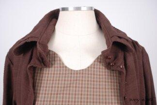 Look 17 - Spring 2018 Ivey Abitz Bespoke - Inglenook Shirt Jacket in Brick Wispy Plaid Voile; Inglenook Frock in Brick Plaid Cotton, Low Water Length.