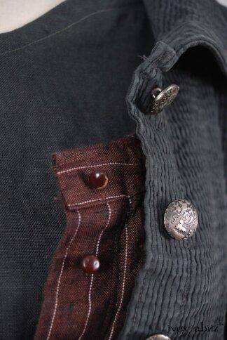 Look 2 - Spring 2018 Ivey Abitz Bespoke - Porte Cochere Shirt Jacket in Blue Slate Wainscot Weave; Porte Cochere Sash in Blue Slate Wainscot Weave; Porte Cochere Frock in Brick Striped Linen; Inglenook Frock in Blue Slate Washed Linen, Low Water Length.