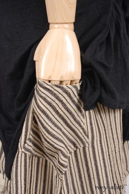 Look 20 - Spring 2018 Ivey Abitz Bespoke - Fairholme Jacket in Chimney Lightweight Linen Knit; Chittister Shirt Jacket in Chimney Crinkled Striped Weave; Fairholme Frock in Hamlet Washed Silk, High Water Length.
