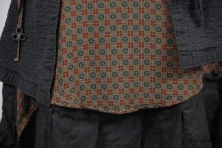 Look 25 - Spring 2018 Ivey Abitz Bespoke - Porte Cochere Shirt Jacket in Blue Slate Wainscot Weave; Port Cochere Sash in Blue Slate Wainscot Weave; Nook Frock in Stained Glass Silk Chiffon, Low Water Length; Inglenook Frock in Blue Slate Washed Linen, Low Water Length.