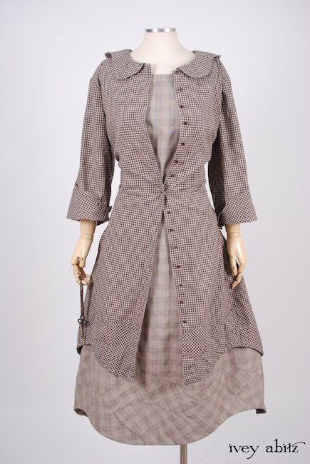 Look 29 - Spring 2018 Ivey Abitz Bespoke - Grasmere Duster Coat in Brownstone Banister Checked Cotton; Grasmere Frock in Brownstone Banister Glen Plaid Cotton.