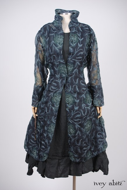 Look 3 - Spring 2018 Ivey Abitz Bespoke - Morningside Duster Coat in Blue Slate Embroidered Silk Organza; Inglenook Frock in Blue Slate Washed Linen, Low Water Length.