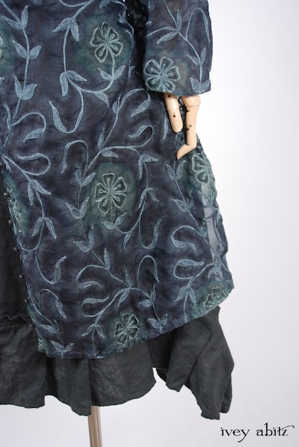 Morningside Duster Coat in Blue Slate Embroidered Silk Organza; Inglenook Frock in Blue Slate Washed Linen, Low Water Length.