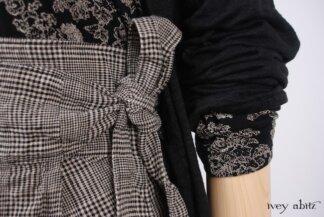 Look 30 - Spring 2018 Ivey Abitz Bespoke - Fairholme Jacket in Chimney Lightweight Linen Knit; Elliot Dress in Chimney Floral Knit; Fairholme Skirt in Chimney Washed Glen Plaid Linen; Pierrepont Breeches/Leggings in Chimney Ponte Knit.