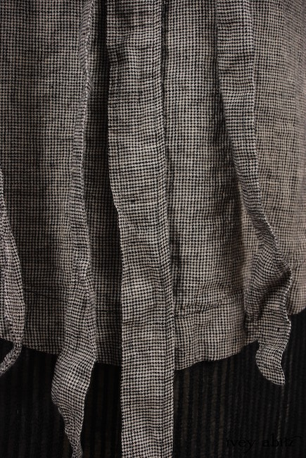 Look 33 - Spring 2018 Ivey Abitz Bespoke - Limited Edition Chittister Duster Coat in Chimney Houndstooth Washed Linen with Glen Plaid Washed Linen; Chittister Frock Chimney Embroidered Striped Organza; Fairholme Frock in Hamlet Washed Silk, High Water Length.