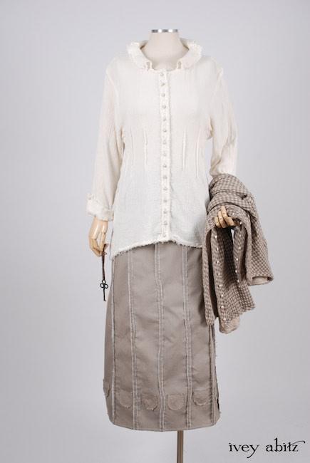 Glenclyffe Shirt in Linen Crinkled Gauze; Glenclyffe Skirt in Stone Cottage Raised Striped Weave; Glenclyffe Jacket in Stone Cottage Petite Checked Knit.