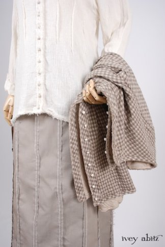 Look 35 - Spring 2018 Ivey Abitz Bespoke - Glenclyffe Shirt in Linen Crinkled Gauze; Glenclyffe Skirt in Stone Cottage Raised Striped Weave; Glenclyffe Jacket in Stone Cottage Petite Checked Knit.