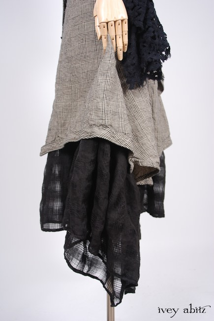 Look 36 - Spring 2018 Ivey Abitz Bespoke - Limited Edition Fairholme Shawl in Chimney Cotton Lace; Highlands Frock in Chimney Glen Plaid Washed Linen; Fairholme Frock in Open Weave Plaid Linen; Clotaire Sash in Chimney and Lawn Floral Silk Chiffon.