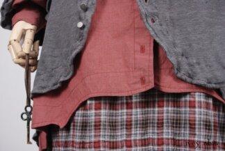 Look 37 - Spring 2018 Ivey Abitz Bespoke - Heraldry Duster Coat in Front Gate Lightweight Linen Knit; Crest Shirt in Red Door Washed Poplin; Heraldry Frock in Red Door Wispy Plaid.