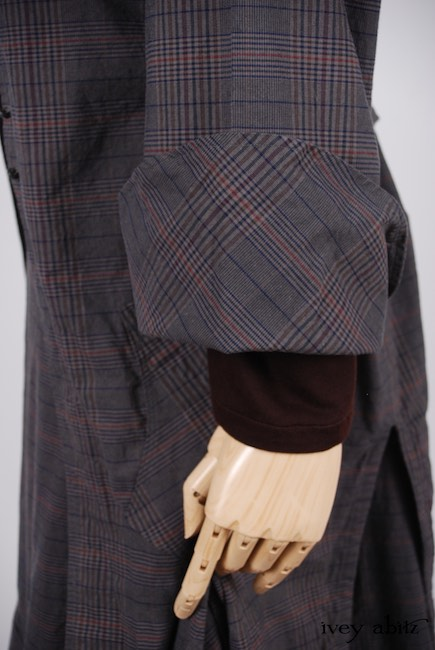 Elsie Duster Coat in Front Gate Sturdy Plaid Poplin; Elliot Shirt in Brick Soft Knit; Blanchefleur Sash in Red Door Stained Glass Voile; Heraldry Skirt in Front Gate Sturdy Plaid Poplin. Spring 2018 Look 38 - Ivey Abitz Bespoke Clothing