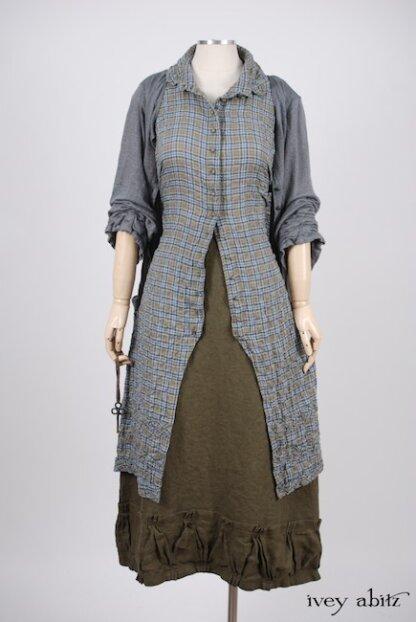 Look 4 - Spring 2018 Ivey Abitz Bespoke - Mewland Jacket in Veranda Blue Lightweight Linen Knit; Bartholomew Frock in Veranda Blue Wispy Plaid; Gabled Skirt in Lawn Washed Linen, High Water Length.
