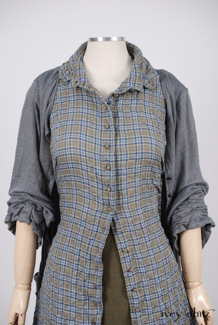 Mewland Jacket in Veranda Blue Lightweight Linen Knit; Bartholomew Frock in Veranda Blue Wispy Plaid; Gabled Skirt in Lawn Washed Linen, High Water Length.