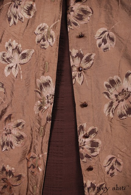 Look 40 - Spring 2018 Ivey Abitz Bespoke - Grasmere Vest in Brownstone Banister Floral Silk; Thatched Frock in Brick Wispy Plaid Voile, High Water Length.