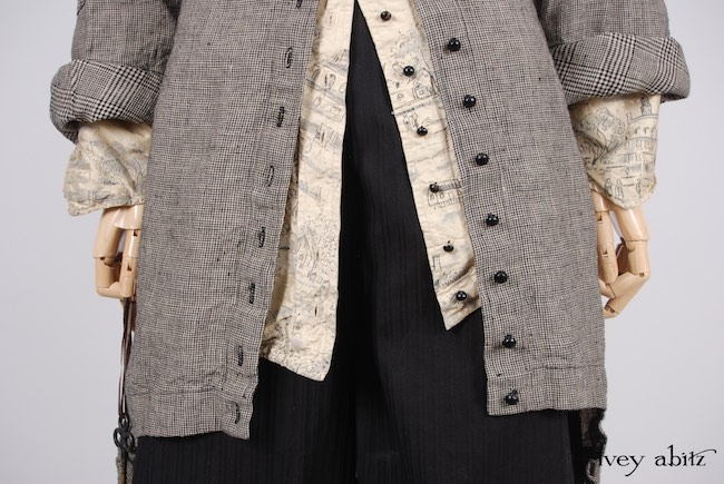 Limited Edition Chittister Duster Coat in Chimney Houndstooth Washed Linen and Glen Plaid Washed Linen; Highlands Shirt in Hamlet Washed Silk; Clotaire Sash in Chimney and Lawn Floral Silk Chiffon; Montague Trousers in Chimney Striped Cotton Twill. Spring 2018 Look 43 - Ivey Abitz Bespoke Clothing