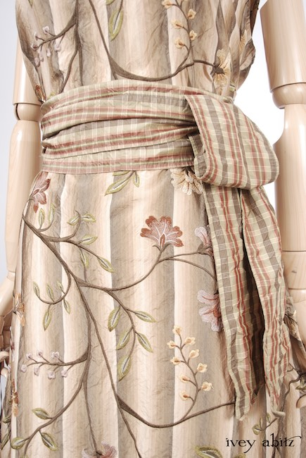 Look 44 - Spring 2018 Ivey Abitz Bespoke - Canterbury Frock in Original Plaster Embroidered Silk, High Water Length; Blanchefleur Sash in Lawn Washed Plaid Silk.