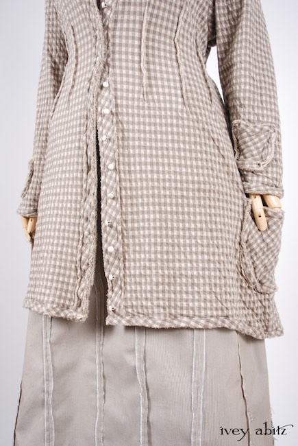 Glenclyffe Jacket in Stone Cottage Petite Checked Knit; Bonheur Vest in Stone Cottage Grand Checked Knit; Glenclyffe Skirt in Stone Cottage Raised Striped Weave. Look 45 - Spring 2018 Ivey Abitz Bespoke
