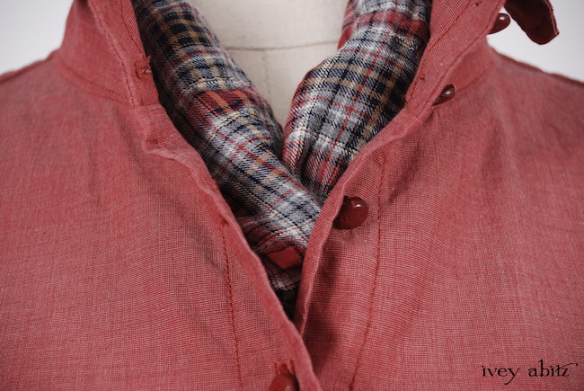 Crest Shirt in Red Door Washed Cotton; Clotaire Sash in Red Door Wispy Plaid; Coulson Trousers in Brownstone Banister Soft Knit, Low Water Length. Look 47 - Spring 2018 Ivey Abitz Bespoke