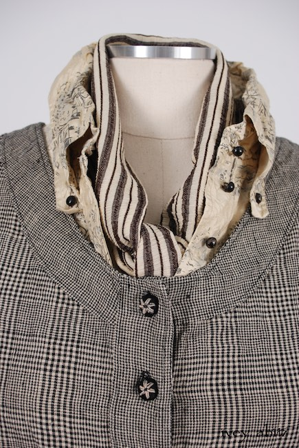 Limited Edition Highlands Vest in Mix of Chimney Glen Plaid Washed Linen and Chimney Houndstooth Washed Linen; Highlands Shirt in Hamlet Washed Silk; Clotaire Sash in Chimney Crinkled Striped Weave; Montague Trousers in Chimney Striped Cotton Twill. Spring 2018 Look 48 - Ivey Abitz Bespoke Clothing