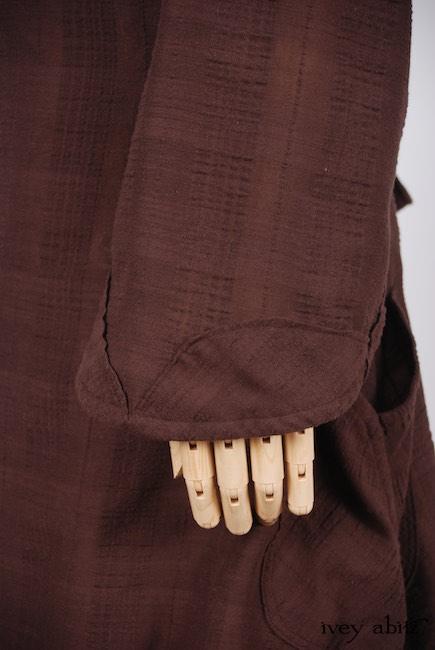 Look 5 - Spring 2018 Ivey Abitz Bespoke - Inglenook Shirt Jacket in Brick Wispy Plaid Voile; Grasmere Vest in Brownstone Banister Floral Silk; Thatched Frock in Brick Wispy Plaid Voile, High Water Length.