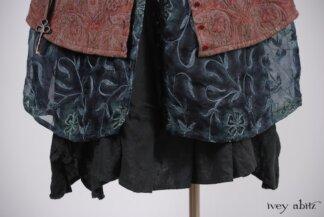 Morningside Shirt Jacket in Royal Washed Brocade; Morningside Duster Coat in Blue Slate Embroidered Silk Organza; Inglenook Frock in Blue Slate Washed Linen, Low Water Length. Look 51 - Spring 2018 Ivey Abitz Bespoke